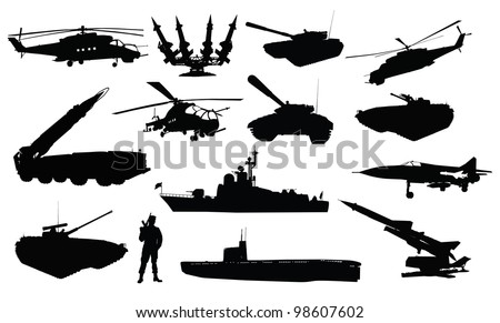 High detailed soviet (russian) military silhouettes - stock vector