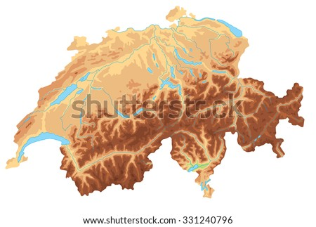 High detailed Switzerland physical map. - stock vector