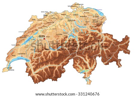High detailed Switzerland physical map with labeling. - stock vector