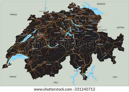 High detailed Switzerland road map with labeling. - stock vector