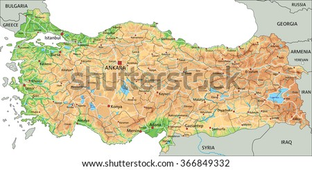 High detailed Turkey physical map with labeling. - stock vector