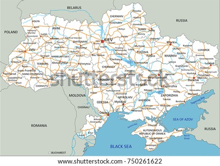 High Detailed Ukraine Road Map Labeling Stock Vector 750261622