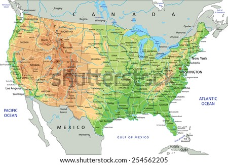 High Detailed United States America Physical Stock Vector - United states of america physical map