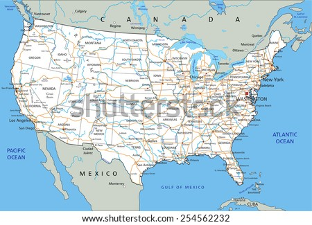 High Detailed United States Of America Road Map With Labeling