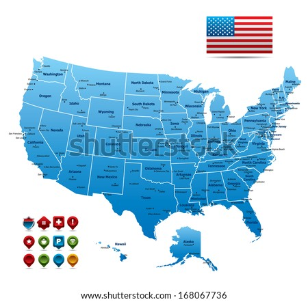 High detailed USA Map - stock vector