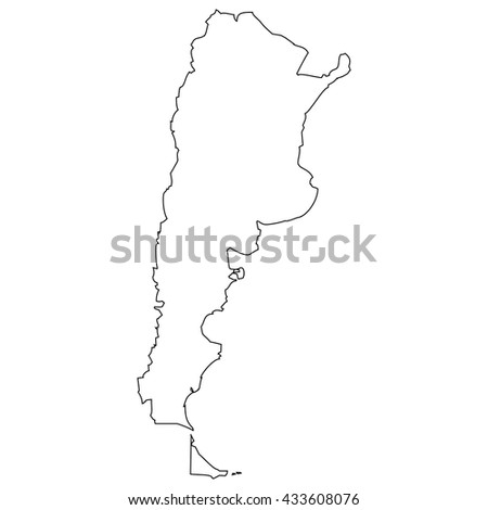 High detailed vector contour map - Argentina