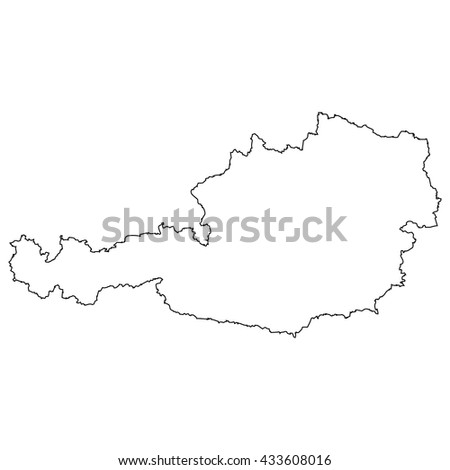 High detailed vector contour map - Austria