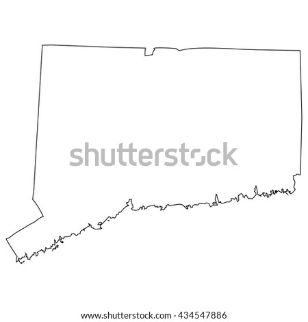 High detailed vector contour map - Connecticut