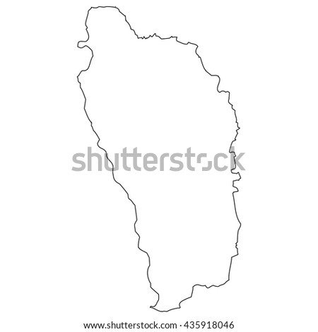 High detailed vector contour map - Dominica