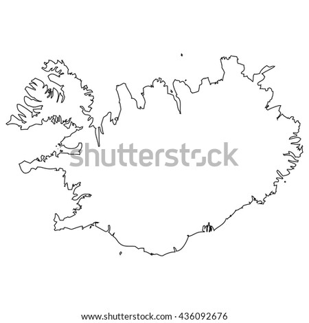 High detailed vector contour map - Iceland