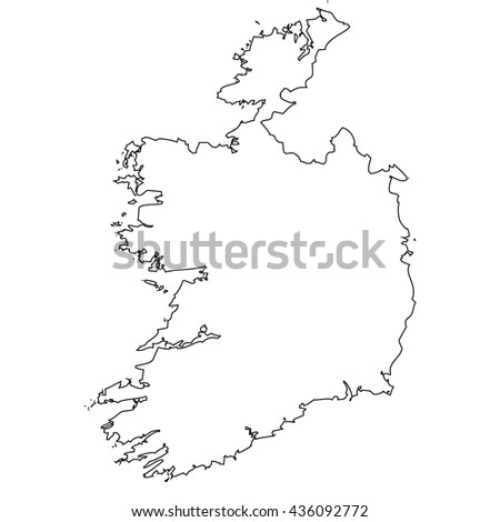 High detailed vector contour map - Ireland