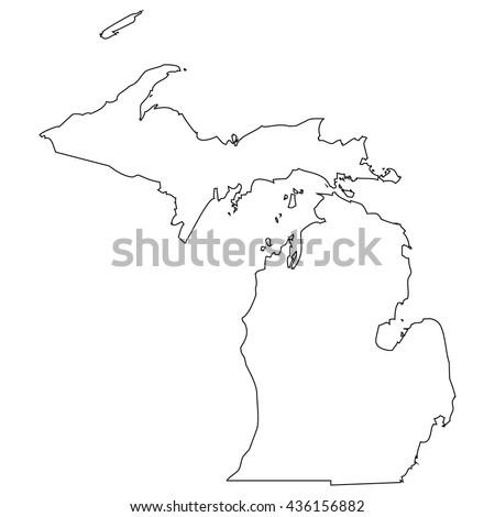 High detailed vector contour map - Michigan - stock vector