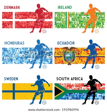 High detailed vector illustration of a soccer player and a group of fans in National colors of Denmark, Ireland, South Africa, Sweden, Honduras and Ecuador. Please see collections 1, 2, 3, 4 and 5. - stock vector