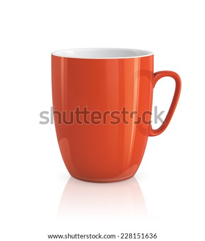 High detailed vector illustration of red cup isolated on white background