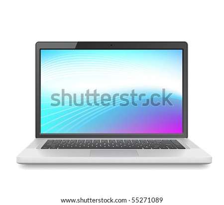 High detailed vector laptop with abstract colorful background on screen. - stock vector