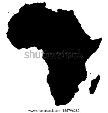 High detailed vector map - Africa  - stock vector