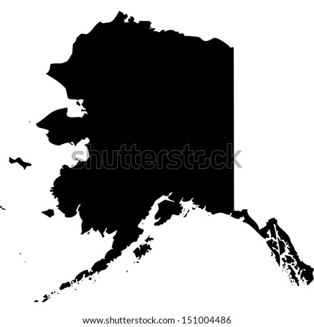 High detailed vector map - Alaska  - stock vector