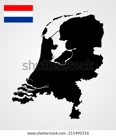High detailed vector map and vector flag of the Netherlands isolated on white background.Holland silhouette illustration.  - stock vector
