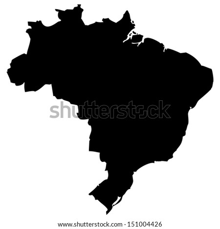 High detailed vector map - Brazil  - stock vector