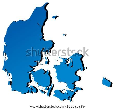 High detailed vector map - Denmark - stock vector