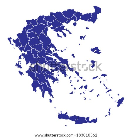 High detailed vector map Greece with regions - stock vector