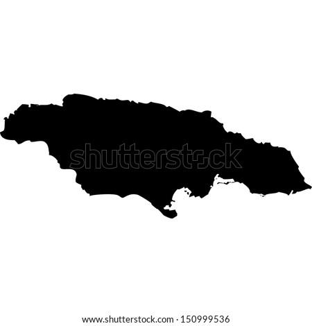 High detailed vector map - Jamaica  - stock vector
