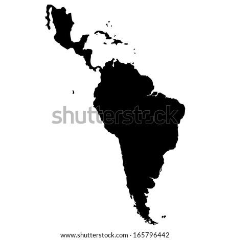 High detailed vector map - Latin America  - stock vector