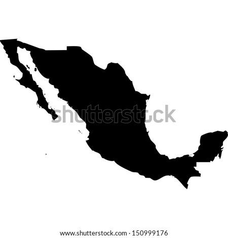 High detailed vector map - Mexico  - stock vector