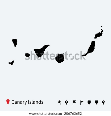High detailed vector map of Canary Islands with navigation pins. - stock vector