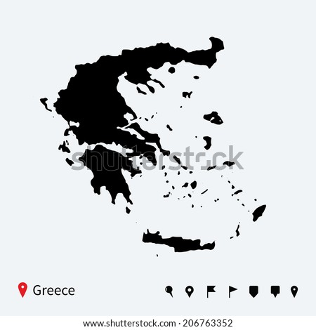 High detailed vector map of Greece with navigation pins. - stock vector