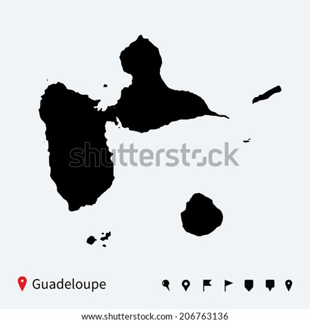 High detailed vector map of Guadeloupe with navigation pins. - stock vector