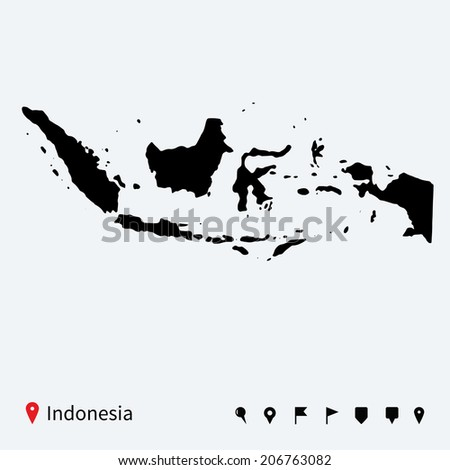 High detailed vector map of Indonesia with navigation pins. - stock vector