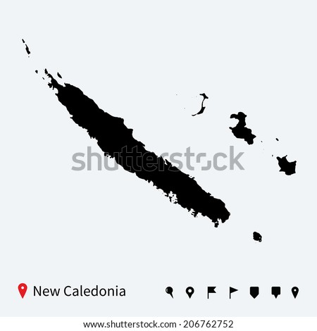 High detailed vector map of New Caledonia with navigation pins. - stock vector
