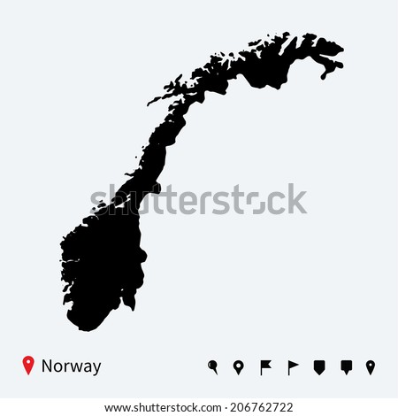 High detailed vector map of Norway with navigation pins. - stock vector