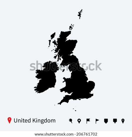High detailed vector map of United Kingdom with navigation pins. - stock vector