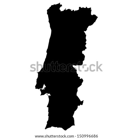 High detailed vector map - Portugal  - stock vector