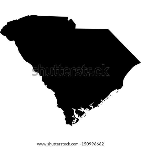 High detailed vector map - South Carolina  - stock vector