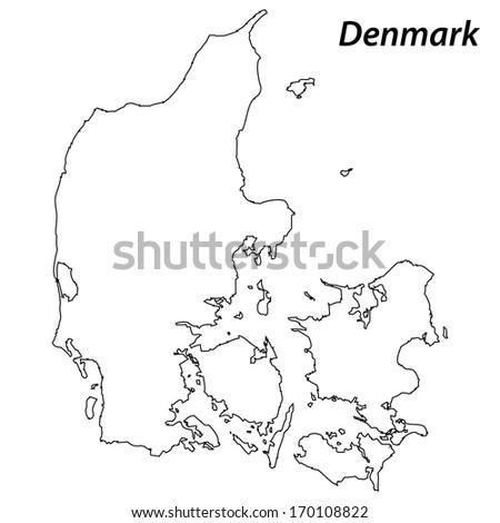 High detailed vector map with contour - Denmark  - stock vector