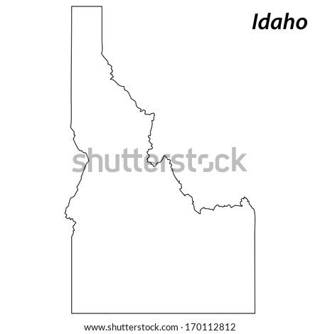 High detailed vector map with contour - Idaho  - stock vector