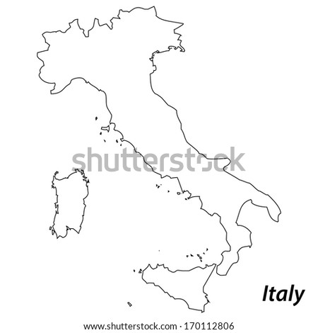 High detailed vector map with contour - Italy  - stock vector