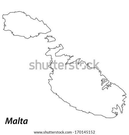 High detailed vector map with contour - Malta  - stock vector