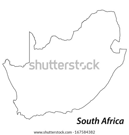 High detailed vector map with contour - South Africa  - stock vector