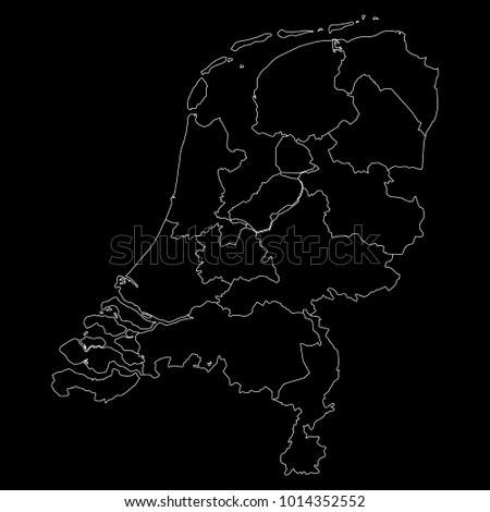 High detailed vector map with counties/regions/states - Netherlands