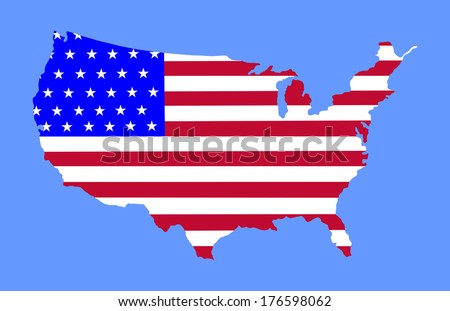High detailed vector map with flag - United States,  silhouette isolated on blue background.  - stock vector