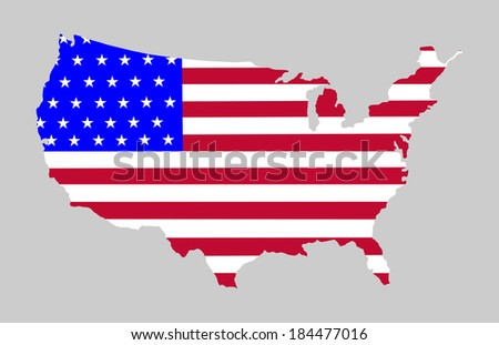 High detailed vector map with flag - United States, silhouette isolated on gray background.  - stock vector
