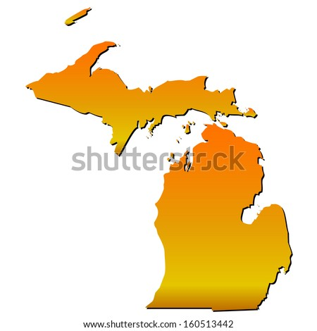 High detailed vector map with shadow in separated layer - Michigan  - stock vector