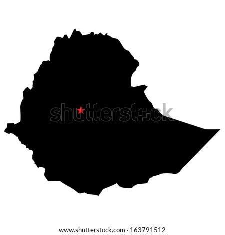 High detailed vector map with the capital city - Ethiopia  - stock vector