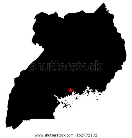 High detailed vector map with the capital city - Uganda  - stock vector