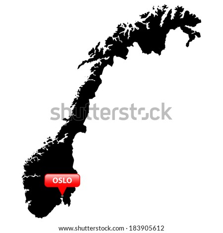 High detailed vector map with the Capital in a red bubble - Norway  - stock vector