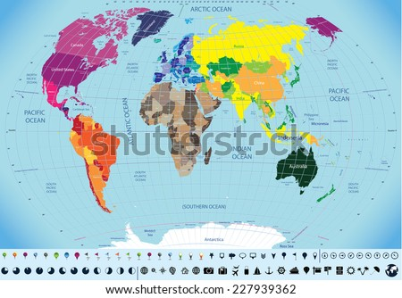High detailed world map time zone stock vector 227939362 shutterstock gumiabroncs Images